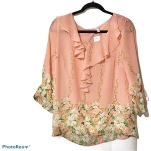 DNA Couture Sheer Ruffle Floral Top Size Small